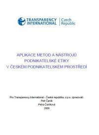 Aplikace metod a nástrojů podnikatelské etiky v české podnikatelském prostředí