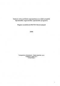 Výzkum vlivu politické reprezentace na výběr projektů Společného regionálního operačního programu Severozápad